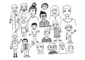 People hand drawn and people Sketch by pen — Vector de stock
