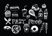 Fast food icons vector symbols  — Stock Vector