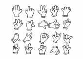 Cartoon hand gloved , illustration of various hands — Stock Vector