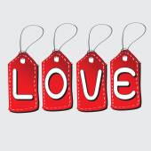 Love Font on Price Tag for Happy Valentines day — Stock Vector