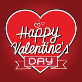 Happy Valentine's Day lettering Greeting Card with heart , vecto — Stock Vector