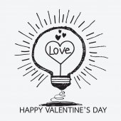 Bulb with heart, Happy Valentines Day card — Stok Vektör