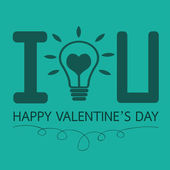 Bulb with heart, Happy Valentines Day card — ストックベクタ