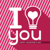 Bulb with heart, Happy Valentines Day card — Stock Vector