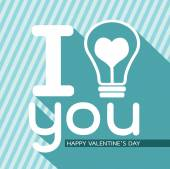 Bulb with heart, Happy Valentines Day — Stock Vector