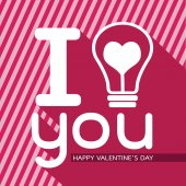 Bulb with heart, Happy Valentines Day card — Vector de stock