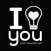 Bulb with heart, Happy Valentines Day card — Vecteur