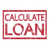 Stamp text CALCULATE LOAN — Stock Vector