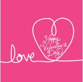 Line heart and Valentines card — Stock Vector