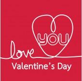 線心とバレンタイン カード — ストックベクタ