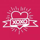 Heart Love Xoxo , Valentines day illustration — Stock Vector