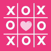 Happy Valentines day card , Tic tac toe game ,cross , heart sign — Stock Vector