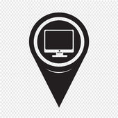 Map Pointer pc monitor icon — Stock Vector