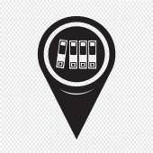 Kaart aanwijzer mappictogram — Stockvector