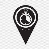 Map Pointer Stopwatch Icon — Stockvektor
