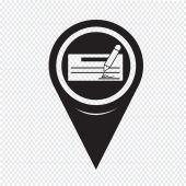 Map Pointer cheque icon — Stock Vector