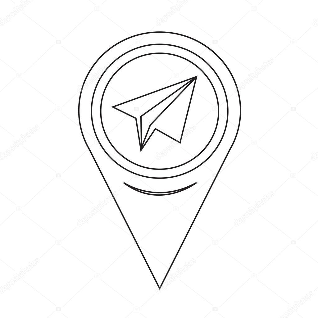 地图别针指针纸飞机图标