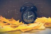 Old alarm clock and maple leaves — Stock Photo
