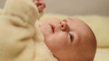 Newborn baby on blanket — Stock Video