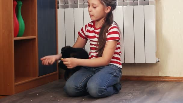 Fille avec un chiot — Vidéo