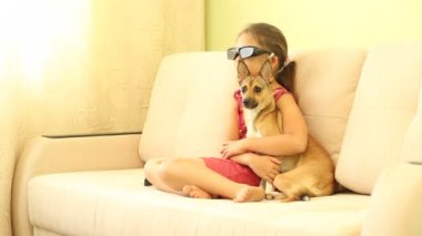 Little girl with a puppy — Stock Video
