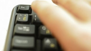 Finger pressing ESC button — Stock Video