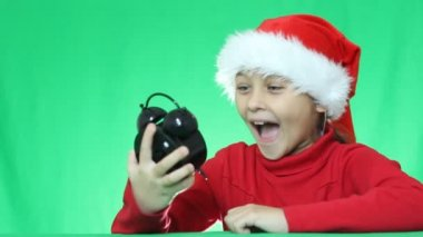 Girl in Christmas costume — Stock Video