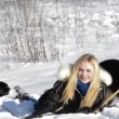 Blond Girl playing with dogs — Stock Video #61862197