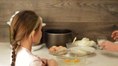 Cute girl making dough — Stock Video