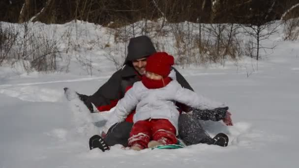 Father and daughter in winter wood — Vidéo