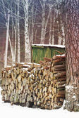 Pine firewood near the village house — Stock Photo