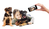 Child and puppy watching — Stock Photo
