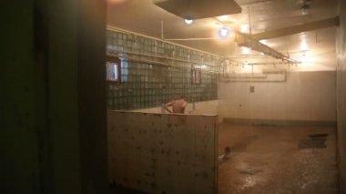 Prisoner taking shower in prison — Stock Video