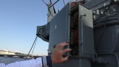 Machinery and equipment of a warship 4K.  St. Petersburg, summer 2014. — Stock Video
