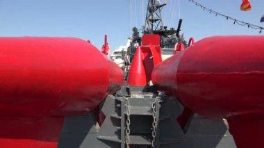 Buoys to indicate underwater mines.  4K.  St. Petersburg, summer 2014. — Stock Video