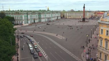Petersburg. View from the roof. The Palace square. 4K. — Stock Video