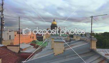 Petersburg. View from the roof. St. Isaacs Cathedral. 4K. — Stock Video