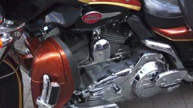 Engine Harley Davidson bike.4K.  St. Petersburg, summer 2014. — Stock Video