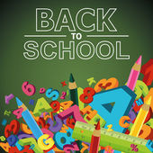 Back to school background with letters, numbers and colored penc — Stock vektor