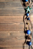 Blue Christmas ornament balls with star — Stock Photo