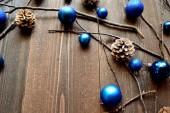 Blue Christmas ornament balls with pine cones — Foto de Stock