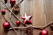 Red Christmas ornament balls with star — Stock Photo