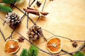 сушеные оранжевый, палочку корицы и шишка — Стоковое фото