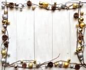 Gold and silver Christmas ornaments — Stock Photo