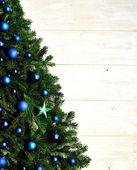 Blue ornament balls Christmas tree — Zdjęcie stockowe