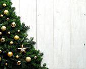 Gold ornament ball Christmas tree — Zdjęcie stockowe