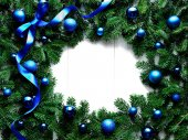Blue Christmas ornament balls with ribbon on fir leaves — Stock Photo