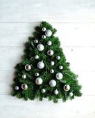 Silver ornament balls Christmas tree — Foto de Stock