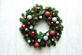 Red and silver ornaments Christmas wreath — Stock Photo