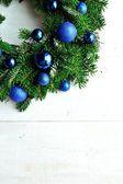 Blue ornament balls Christmas wreath — Stock Photo